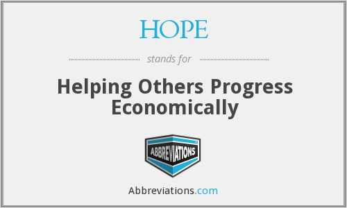 HOPE - Helping Others Progress Economically