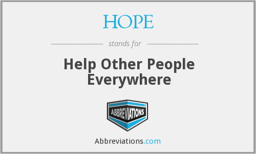 HOPE - Help Other People Everywhere