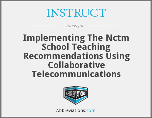 What does INSTRUCT stand for?