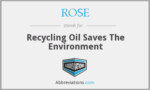 ROSE - Recycling Oil Saves The Environment