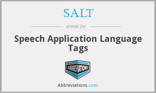 SALT - Speech Application Language Tags