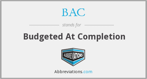 BAC - Budgeted At Completion