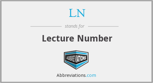 LN - Lecture Number
