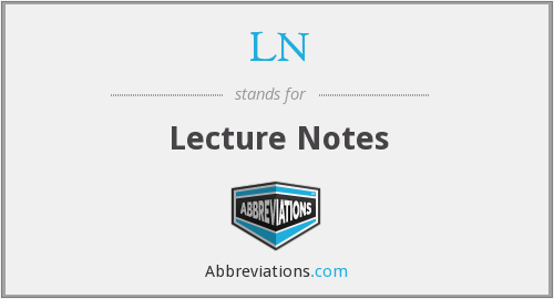 LN - Lecture Notes