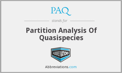 PAQ - Partition Analysis Of Quasispecies