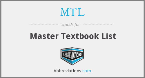MTL - Master Textbook List