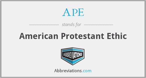 APE - American Protestant Ethic