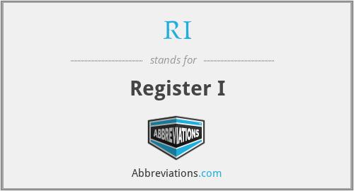 RI - Register I