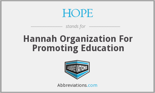 HOPE - Hannah Organization For Promoting Education