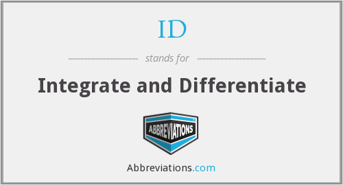 ID - Integrate and Differentiate