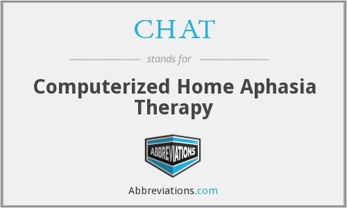 CHAT - Computerized Home Aphasia Therapy