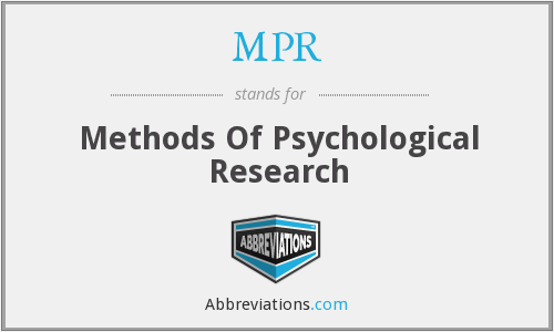 MPR - Methods Of Psychological Research