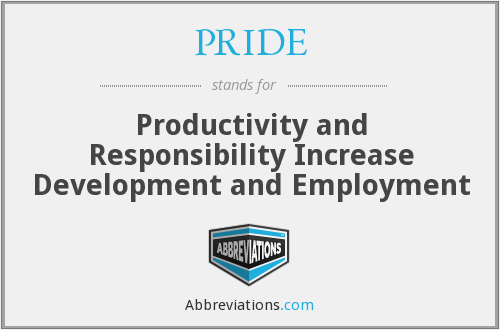 PRIDE - Productivity and Responsibility Increase Development and Employment