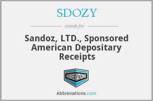 SDOZY - Sandoz, LTD., Sponsored American Depositary Receipts