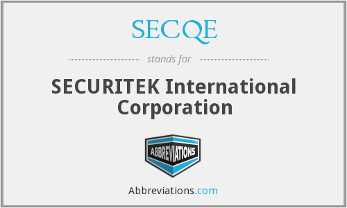 SECQE - SECURITEK International Corporation