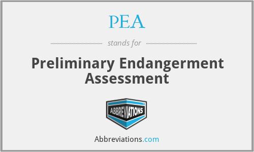 PEA - Preliminary Endangerment Assessment