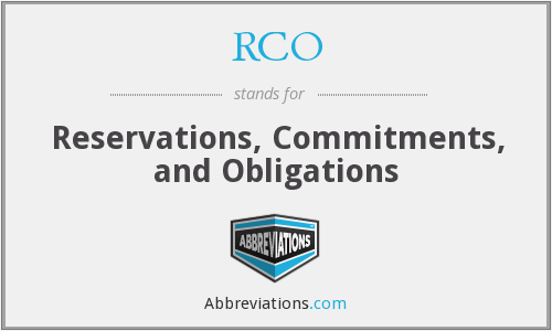 RCO - Reservations, Commitments, and Obligations