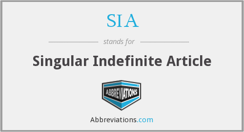 SIA - Singular Indefinite Article