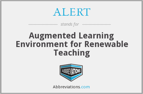 ALERT - Augmented Learning Environment for Renewable Teaching
