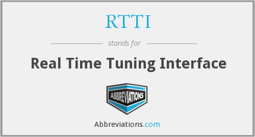 RTTI - Real Time Tuning Interface