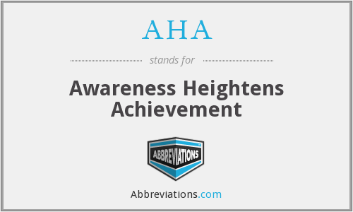 AHA - Awareness Heightens Achievement