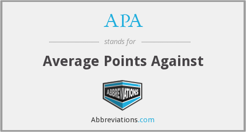 APA - Average Points Against