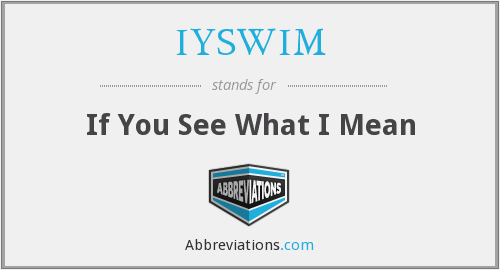 IYSWIM - If You See What I Mean