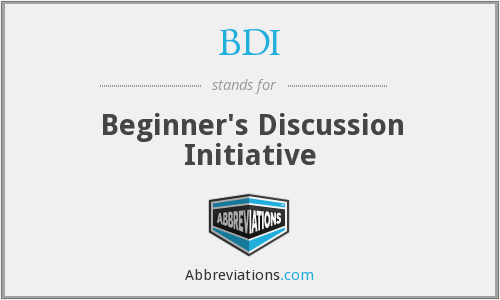 BDI - Beginner's Discussion Initiative