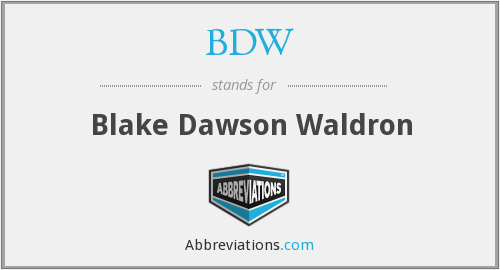 What does BDW stand for?