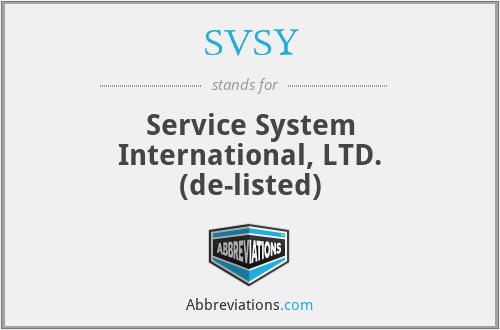 SVSY - Service System International, LTD.  (de-listed)