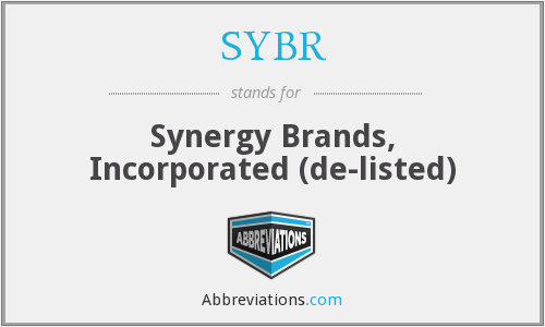 SYBR - Synergy Brands, Incorporated  (de-listed)