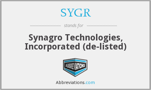 SYGR - Synagro Technologies, Incorporated  (de-listed)