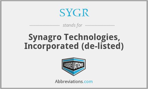 SYGR - Synagro Technologies, Inc.