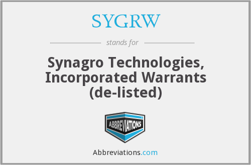 What does SYGRW stand for?