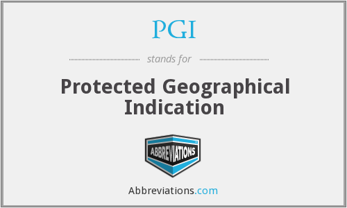 PGI - Protected Geographical Indication