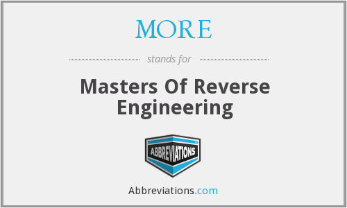 MORE - Masters Of Reverse Engineering