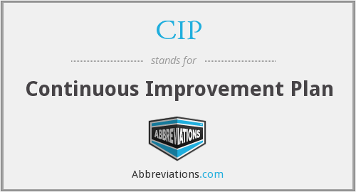 CIP - Continuous Improvement Plan