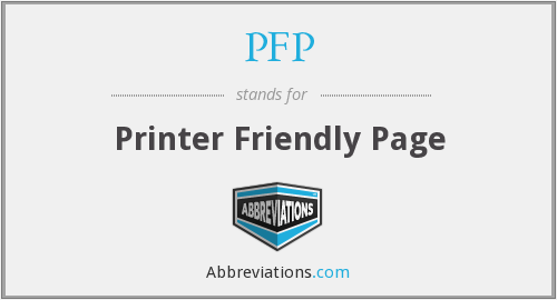PFP - Printer Friendly Page