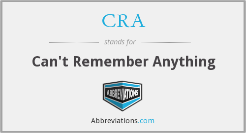 CRA - Can't Remember Anything