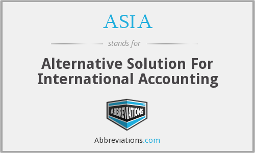 ASIA - Alternative Solution For International Accounting