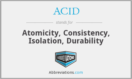 ACID - Atomicity, Consistency, Isolation, Durability