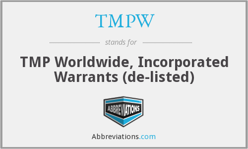 What does TMPW stand for?
