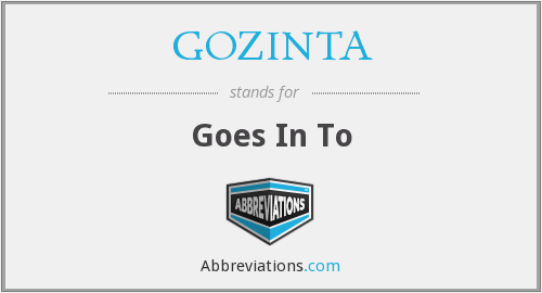 GOZINTA - Goes In To