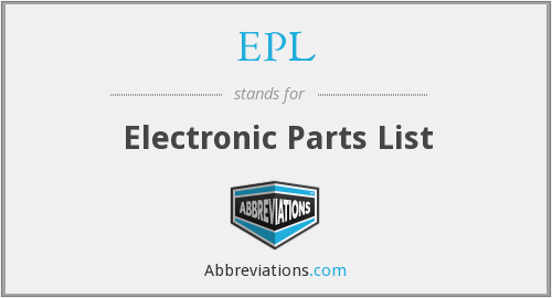EPL - Electronic Parts List
