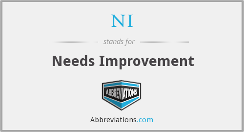 NI - Needs Improvement