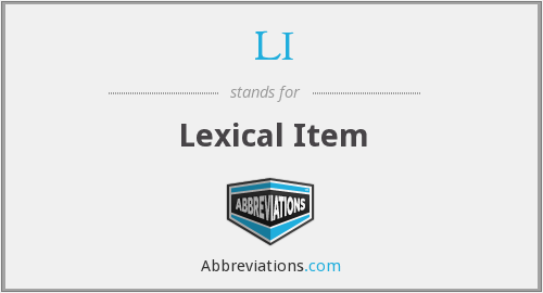 LI - Lexical Item