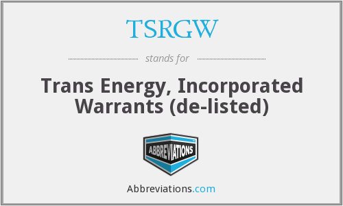 What does TSRGW stand for?