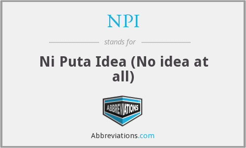 NPI - Ni Puta Idea (No idea at all)