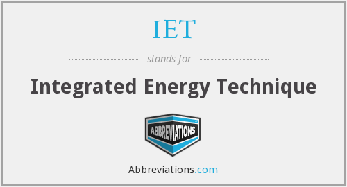 IET - Integrated Energy Technique