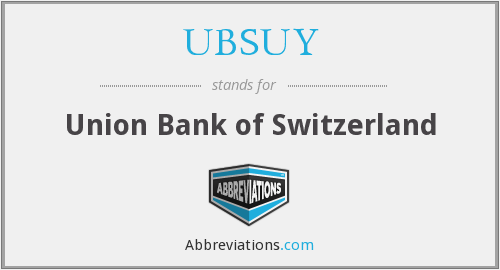 UBSUY - Union Bank of Switzerland